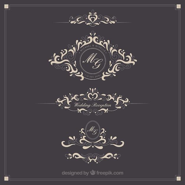 Ornamental Wedding Logos Vector Free Download
