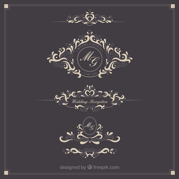 Ornamental wedding logos Free Vector