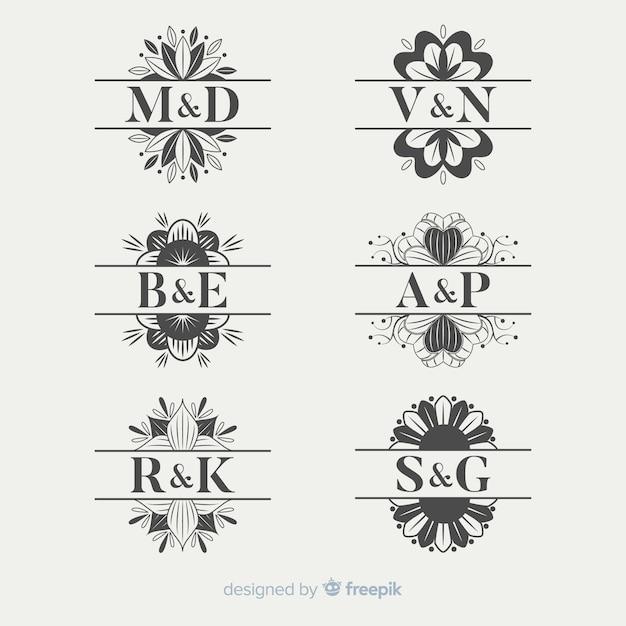 Ornamental wedding monogram collection Free Vector
