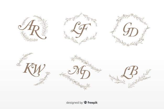 Ornamental wedding monogram collection Free Vector