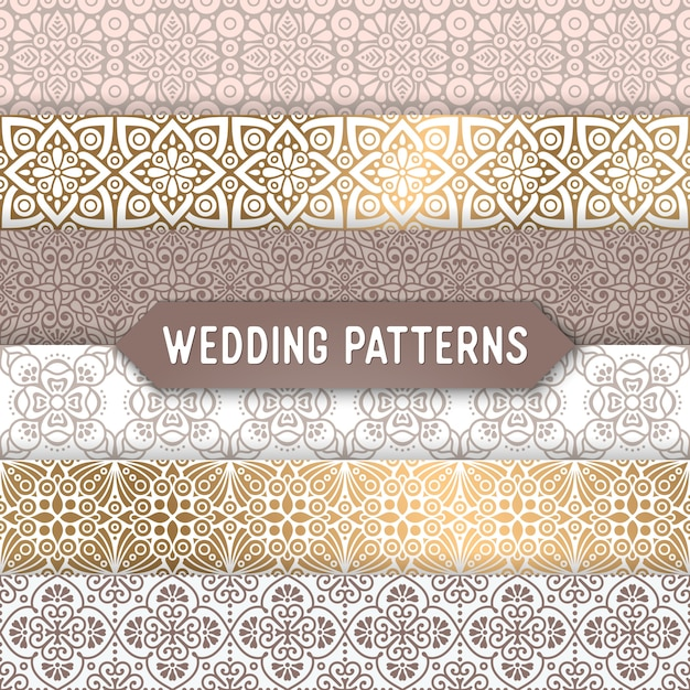 Ornamental wedding patterns Free Vector