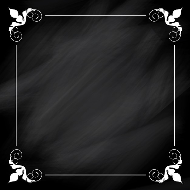 Ornamental white frame on blackboard background