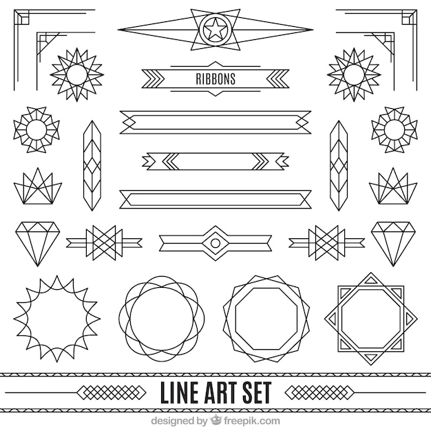 Ornaments In Art Deco Style Set Vector Premium Download