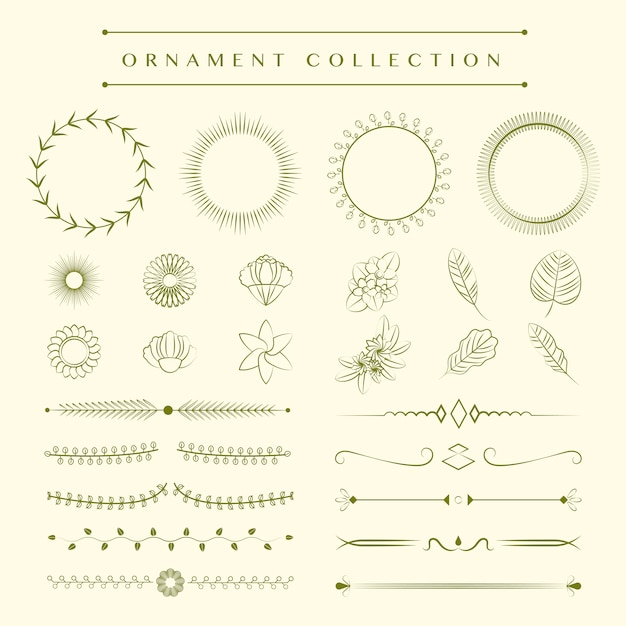 Ornaments collection design concept Free Vector