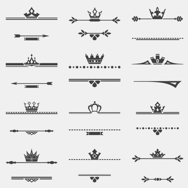 Ornaments with crowns Free Vector