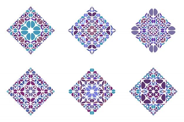 Ornate abstract geometrical petal diagonal square set Premium Vector
