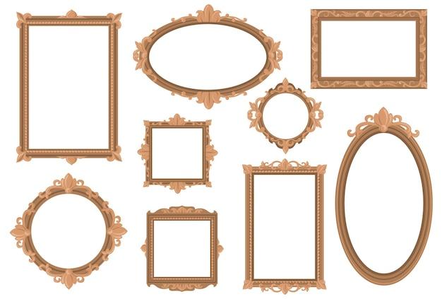 Ornate empty golden borders flat set for web design. Free Vector