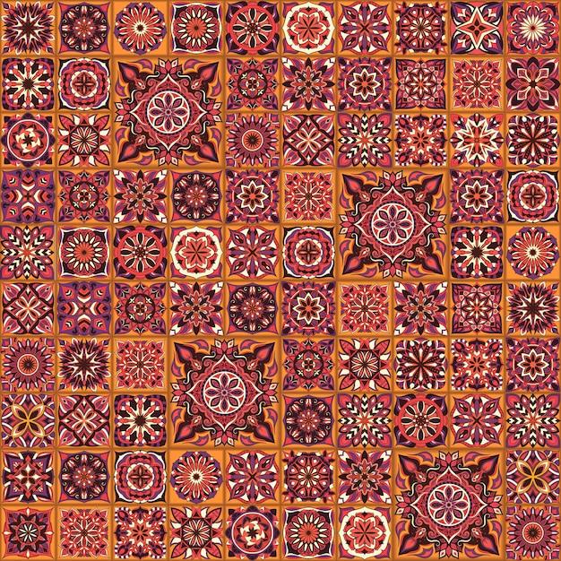 Ornate floral seamless texture, endless pattern with vintage mandala elements. Premium Vector