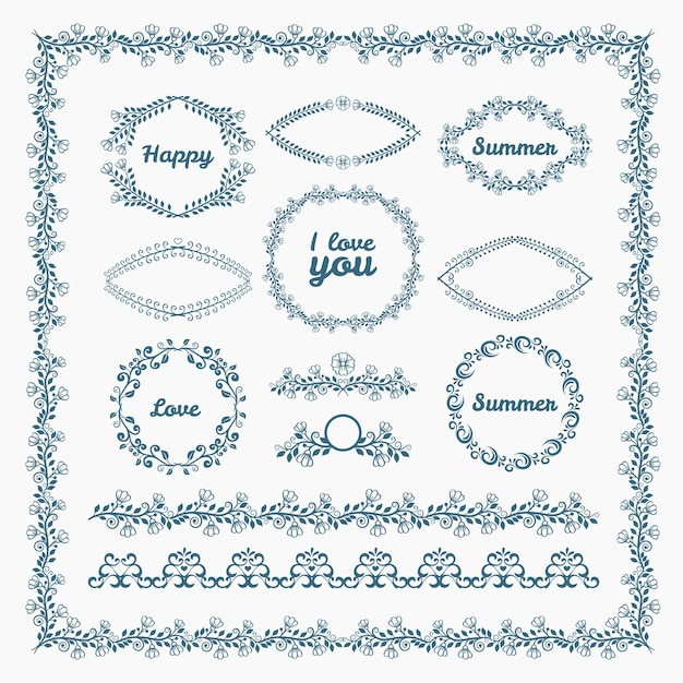 Ornate frames and borders page elements. florid and floral, romantic. Free Vector