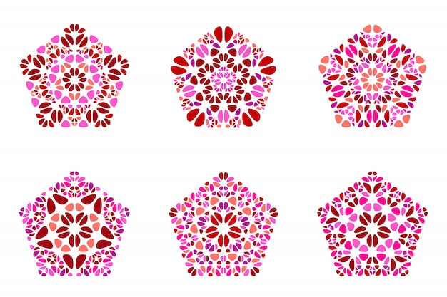 Ornate geometrical isolated floral ornament pentagon polygon set Premium Vector
