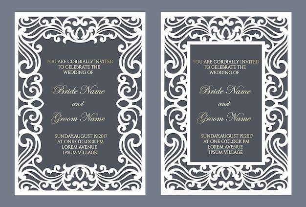 Изысканная рамка, вырезанная лазером. шаблон свадебного приглашения. Premium векторы