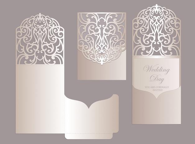 Ornate laser cut wedding invitation pocket fold envelope design. cutting plotter template. Premium V