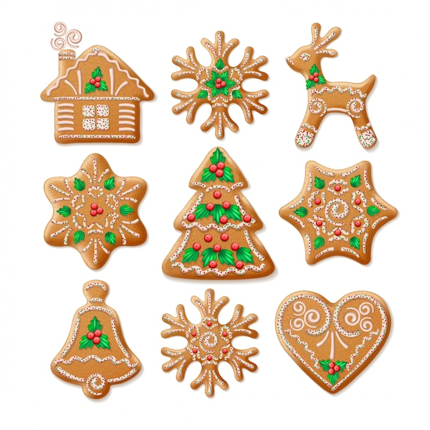 Ornate realistic set traditional christmas gingerbread. Premium Vector