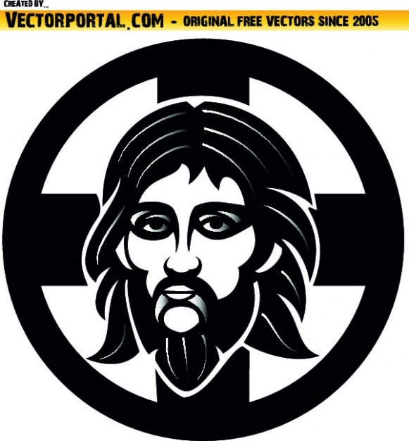 Orthodox Jesus face graphic in circle Vector | Free Download