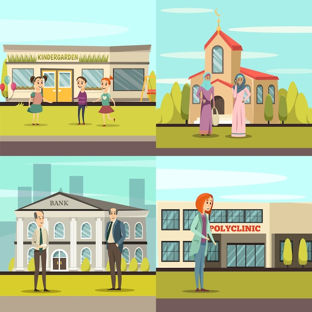 Orthogonal municipal buildings icon set Free Vector
