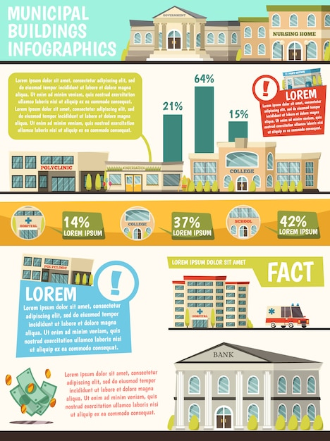 Orthogonal municipal buildings infographics with facts of buildings and their percentage rating Free Vector