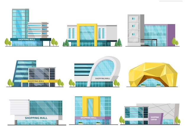 Orthogonal shopping mall buildings set Free Vector