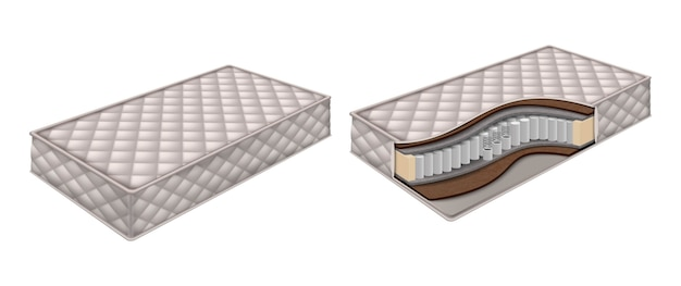 Orthopedic mattress and mattress structure cut out with layers view. isolated  illustration. Premium Vector
