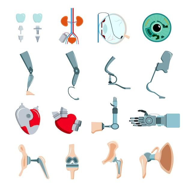 Ортопедические протезы медицинские имплантаты искусственные части тела коллекция плоских иконок с механическим клапаном сердца Бесплатные векторы