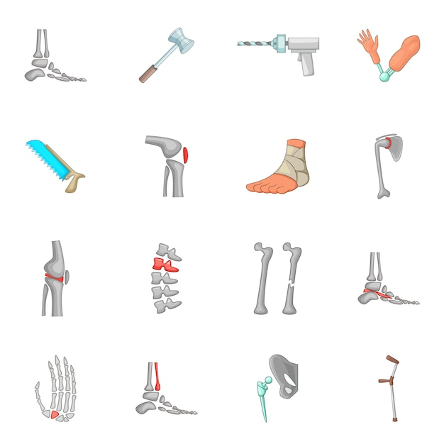Orthopedic and spine icons set Premium Vector