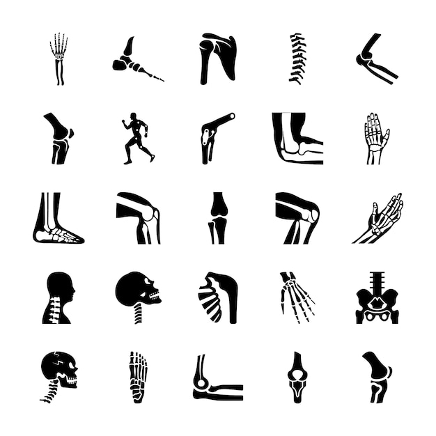 Orthopedic and spine solid icons set Premium Vector