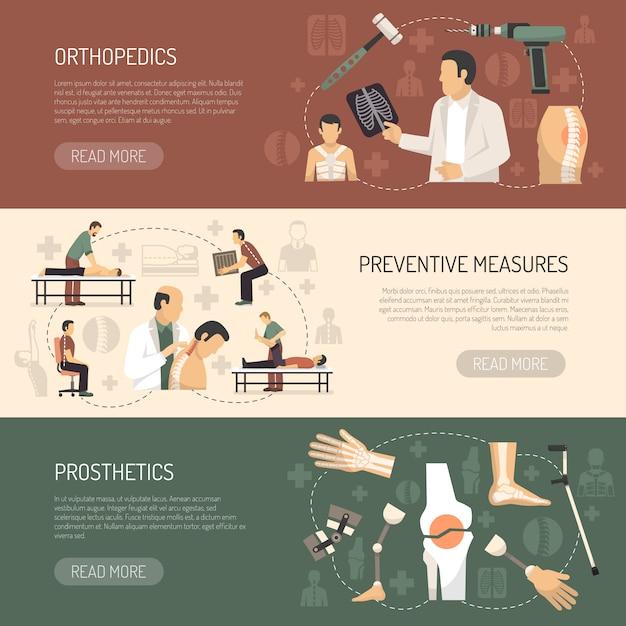 Ортопедия и травматология горизонтальные баннеры Бесплатные векторы