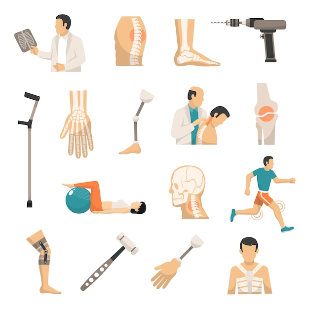Orthopedics color icons set Free Vector