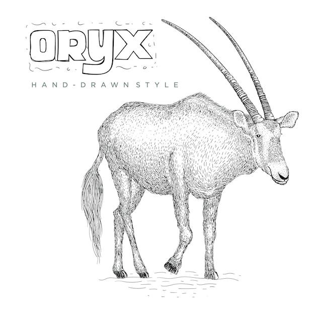 オリックスvhand描画動物イラスト Premiumベクター