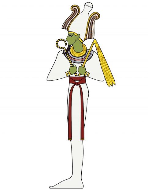 Осирис, древний египетский символ, изолированная фигура древних египетских божеств Premium векторы