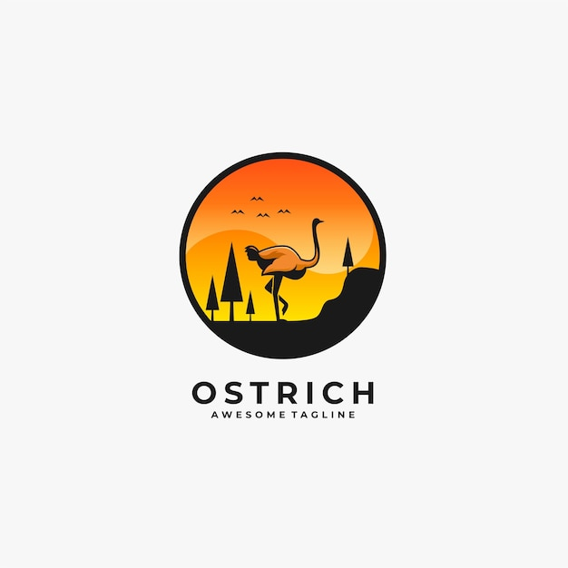 Ostrich walking landscape illustration. Premium Vector