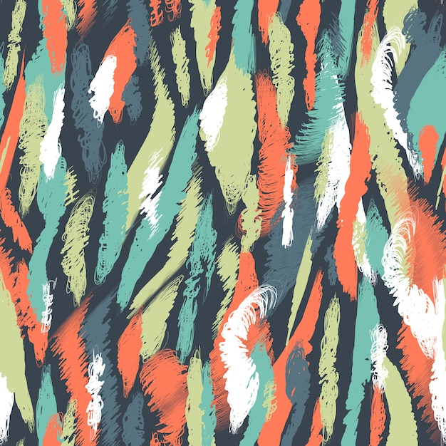 シームレスな北欧パターン。ブラシストロークと民族の抽象的な背景。混oticとしたマルチカラーの汚れと汚れ。テクスチャ、壁紙、テキスタイル、包装紙、カード、印刷の無限のベクターデザイン。 Premiumベクター