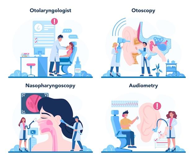 耳鼻咽喉科医のコンセプトセット。ヘルスケアの概念、患者の健康を気にする耳鼻咽喉科医のアイデア。 Premiumベクター
