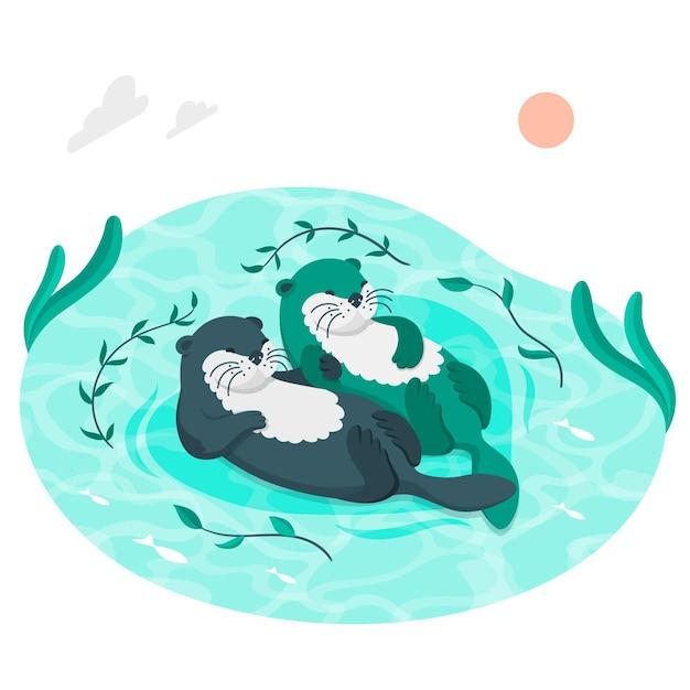 수달 수영 컨셉 일러스트 무료 벡터