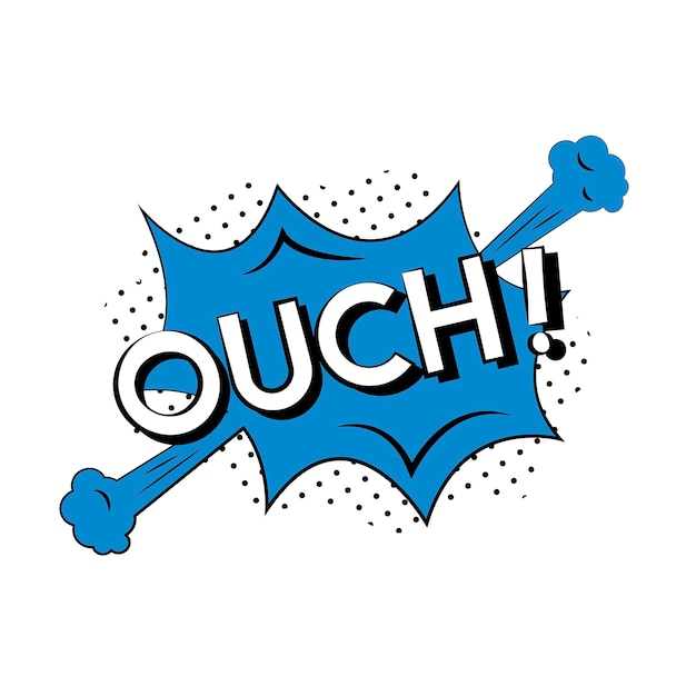 Ouch comic style Free Vector