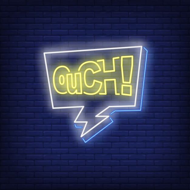 Ouch lettering neon sign Free Vector