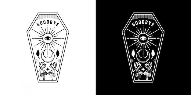Ouija board goodbye with moon monoline design Premiumベクター