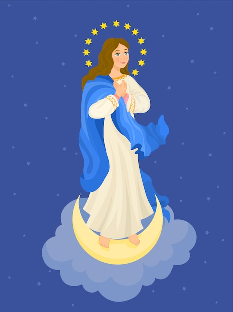 Our lady immaculate conception. virgin mary Premium Vector