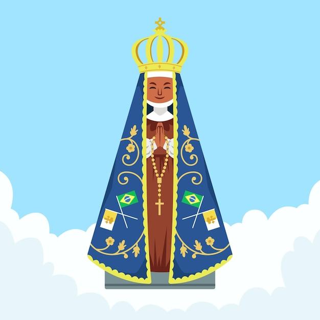 アパレシーダの聖母フラットデザイン 無料ベクター