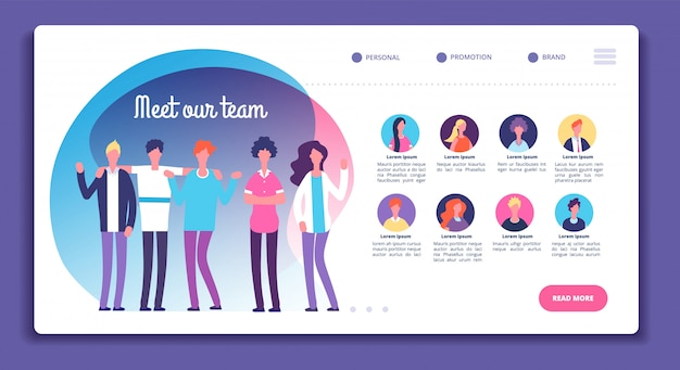 Our team page. staff organization structure. about us webpage with professional avatars, male female bright faces. vector template Premium Vector