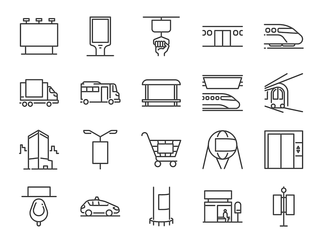 Out of home media line icon set. Premium Vector