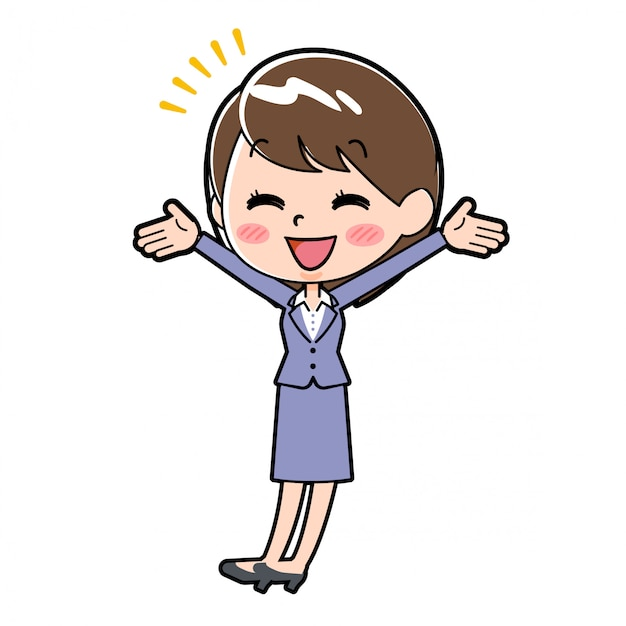 Out line business woman be glad Premium Vector