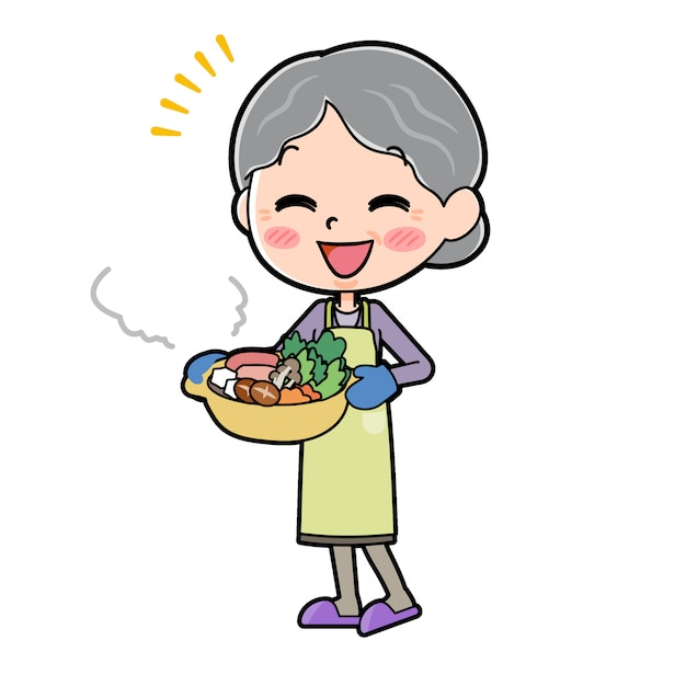 Out line purple wear grandma cook saucepan Premium Vector