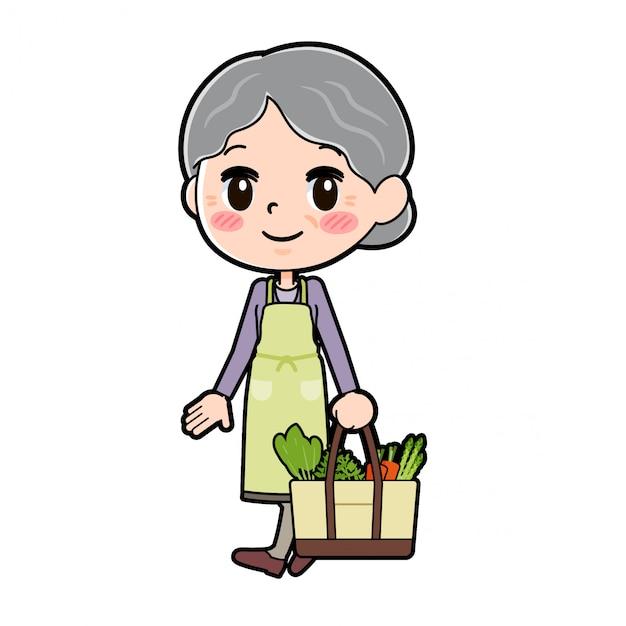 Out line purple wear grandma cook shopping Premium Vector