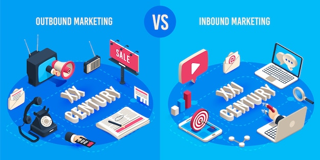 Outbound and inbound marketing. isometric market advertising generations, online markets sales magnet and ads megaphone Premium Vector