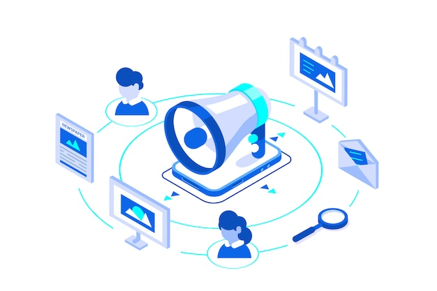 Outbound marketing business illustration isometric. Premium Vector