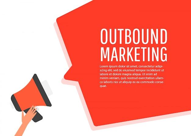 Outbound marketing. megaphone label. Premium Vector