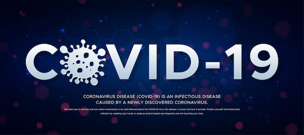Outbreak of coronavirus disease (2019-ncov), banner about the infectious disease. header covid -19 and silhouette of virus on blue background .global epidemic threatens people's health concept. Premium Vector