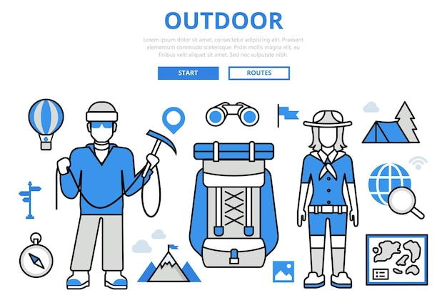 Outdoor active vacation travel mountain hiking tourism concept flat line art  icons. Free Vector
