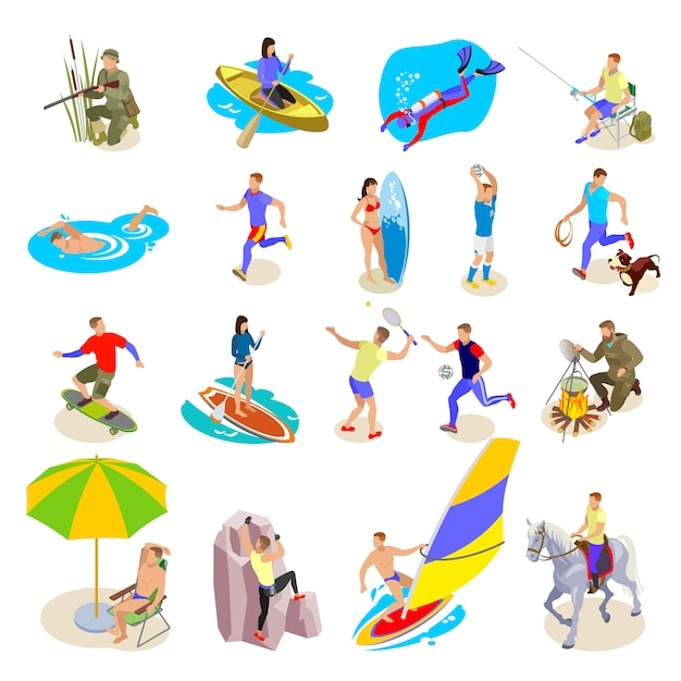Outdoor activities icons set Free Vector