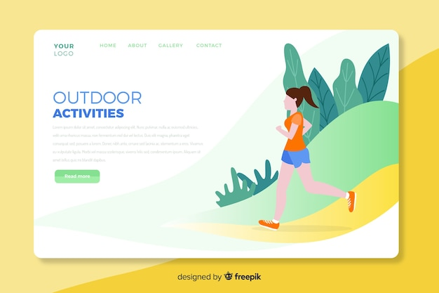 Outdoor activities landing page template Free Vector